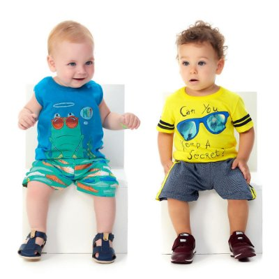Roupa de Bebê Menino Kit 2 Conjuntos Curtos de Verão Secret