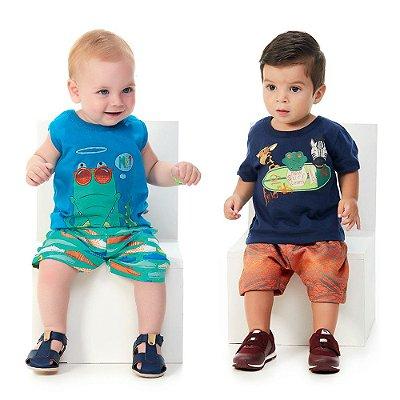 Kit 2 Conjuntos de Bebê Camiseta e Bermuda Menino Aligator