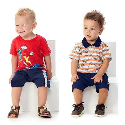 Roupa Bebê Menino Camiseta e Bermuda Verão + Polo e Bermuda
