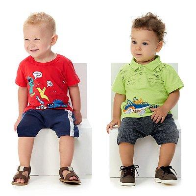 Roupa de Bebê Menino Kit 2 Conjuntos Curto de Verão Summer