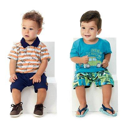 Roupa de Bebê Menino Kit 2 Conjuntos Curtos Camiseta Bermuda