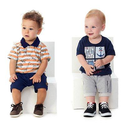 Roupa de Bebê Menino Kit 2 Conjuntos Curtos 4 Peças Abrange