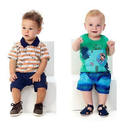 Roupa Bebê Menino Kit 2 Conjuntos Curto Verão Abrange Party