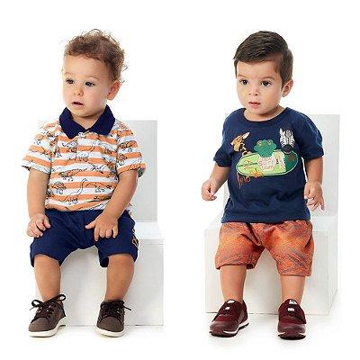 Roupa de Bebê Kit 2 Conjuntos Camiseta e Bermuda Abrange New
