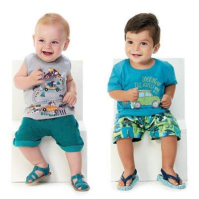 Roupa de Bebê Kit 2 Conjuntos Camiseta e Bermuda Abrange Car
