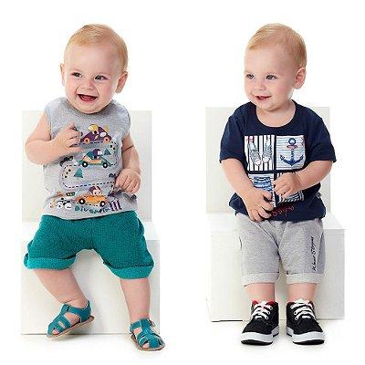 Roupa de Bebê Kit 2 Conjuntos Camiseta e Bermuda Summer