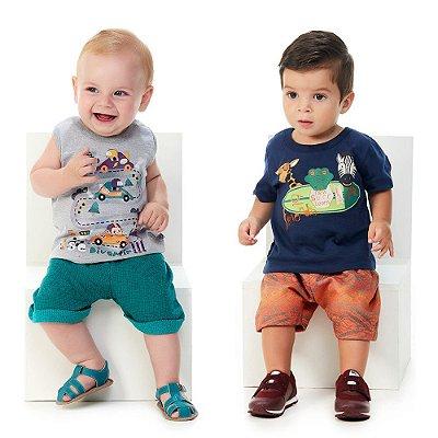 Roupa de Bebê Kit 2 Conjuntos Curto de Verão Abrange Team