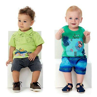 Roupa de Bebê 2 Conjuntos Polo e Bermuda + Regata e Bermuda