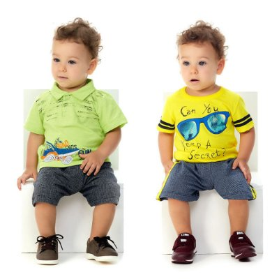 Roupa de Bebê Menino Kit 2 Conjuntinhos Curtos de Verão