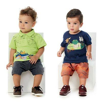 Roupa de Bebê Menino Kit 2 Conjuntos Camiseta Bermuda Beach