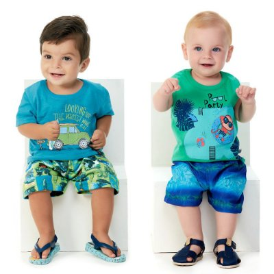 Roupa Bebê Menino Kit 2 Conjuntos Camiseta e Bermuda Praia
