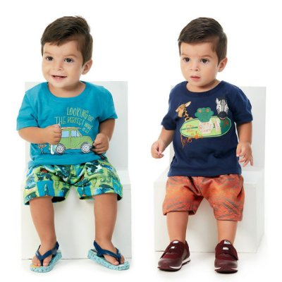 Roupa de Bebê Menino Kit 2 Conjuntos Camiseta e Bermuda Surf