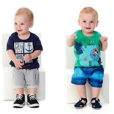 Kit Roupas de Bebê 2 Conjuntos Curtos de Verão Abrange