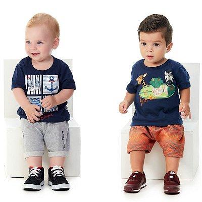 Kit Roupas de Bebê Menino 2 Conjuntos Curto Verão Abrange