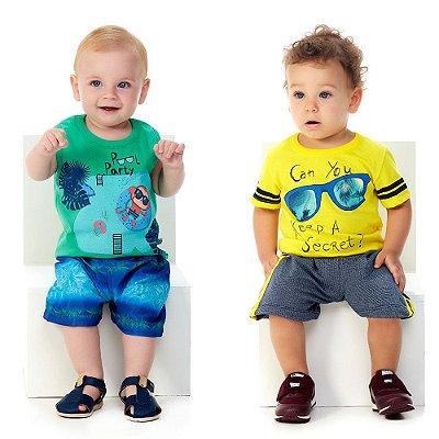 Kit Roupa de Bebê Menino 2 Conjuntos Camiseta e Bermuda Pool
