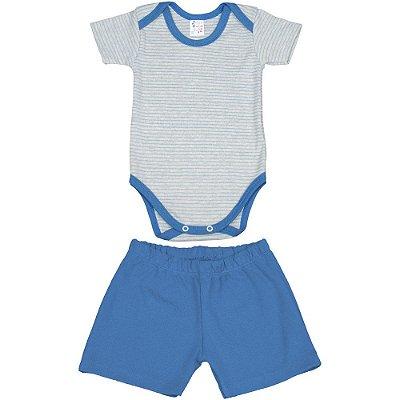 Roupa de Bebê Conjunto Body e Shorts Suedine Listrado Curto