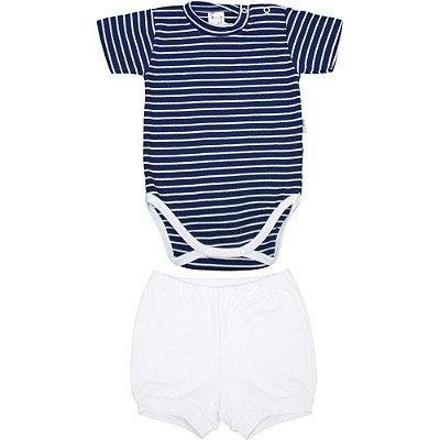 Roupa de Bebê Conjunto Body e Shorts Suedine Curto Verão