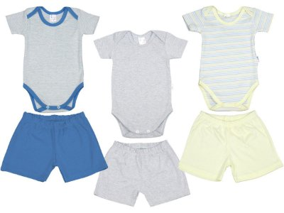 Roupa de Bebê Kit 3 Conjuntos Body e Shorts Suedine Blu Baby