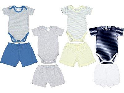 Roupa de Bebê Kit 4 Conjuntos Body e Shorts Curto de Verão