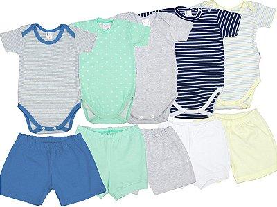 Roupa de Bebê Kit 5 Conjuntos Body e Shorts de Suedine Verão