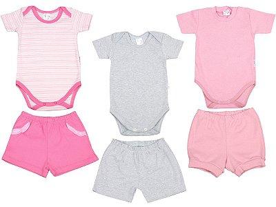 Roupa de Bebê Kit 3 Conjuntos Body e Shorts Suedine Verão