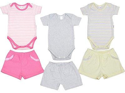 Roupa de Bebê Kit 3 Conjuntos Body e Shorts Verão Blu Baby