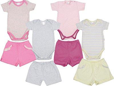 Roupa de Bebê Kit 4 Conjuntos Body e Shorts Suedine Blu Baby
