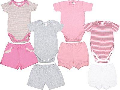Roupa de Bebê Kit 4 Conjuntos Body e Shorts Suedine Verão
