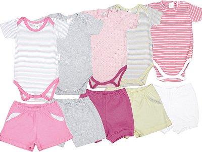 Roupa de Bebê Kit 5 Conjuntos Body e Shorts Suedine Blu Baby