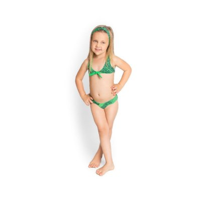 Biquíni Infantil com Tecido Duplo Top com Laço Moda Praia