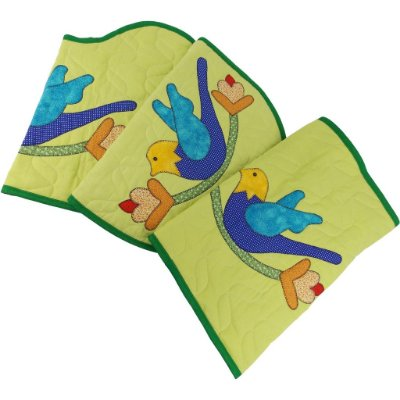 Jogo de Tapetes para Banheiro de Patch Aplique Verde Pássaro