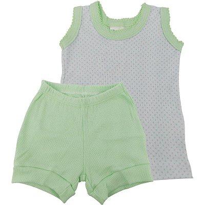 Roupa Bebê Conjunto Curto Regata e Shorts Ribana Canelada