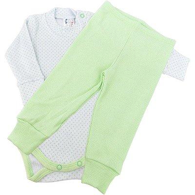 Roupa Bebê Conjunto Longo Body e Calça Ribana Canelada Poá