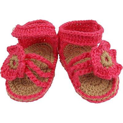 Sandália de Crochê para Menina Modelo Florzinha