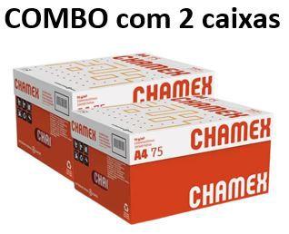 Combo de 2 caixas de Papel Chamex Office A4 75gramas 210mmx297mm caixa com 10 resmas de 500 folhas cada