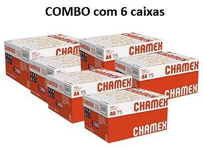 Combo de 6 caixas de Papel Chamex Office A4 75gramas 210mmx297mm caixa com 10 resmas de 500 folhas cada