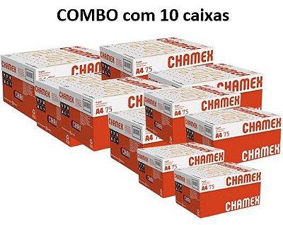 Combo de 10 caixas de Papel Chamex Office A4 75gramas 210mmx297mm caixa com 10 resmas de 500 folhas cada