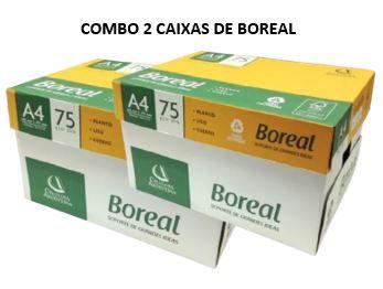 2 caixas de Papel sulfite Boreal 75gramas -  branco - caixa com 10 unidades de 500 folhas