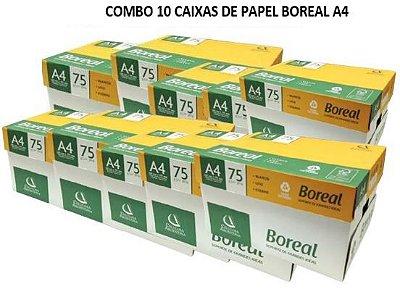 Combo de 10 caixas de Papel Boreal A4 75gramas 210mmx297mm caixa com 10 resmas de 500 folhas cada