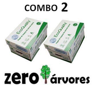 2 caixas de  Sulfite A4, cx c/10 pcts cada de 500fls, Extra Branco Ecoquality 75grs- 100% de Bagaço de Cana de Açúcar