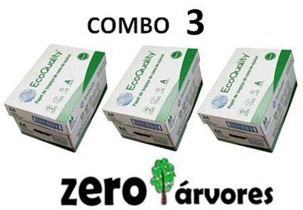 3 caixas de  Sulfite A4, cx c/10 pcts cada de 500fls, Extra Branco Ecoquality 75grs- 100% de Bagaço de Cana de Açúcar