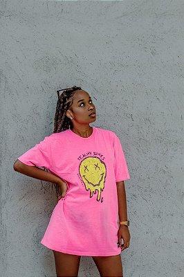 camiseta smiley pink