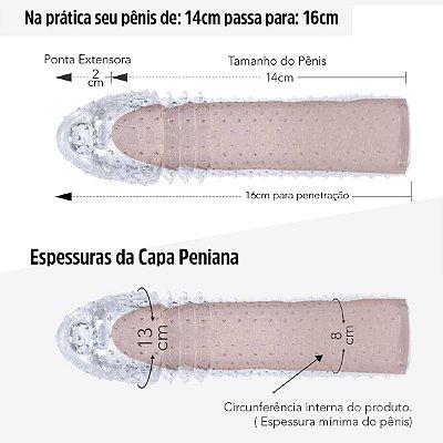 Capa Peniana Extender De 14cm para 16cm ( SS100 - ST632 )-Translucido