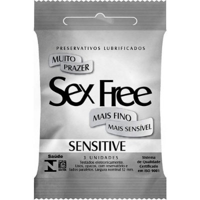 PRESERVATIVO MASCULINO SENSITIVE C/3 SEX FREE