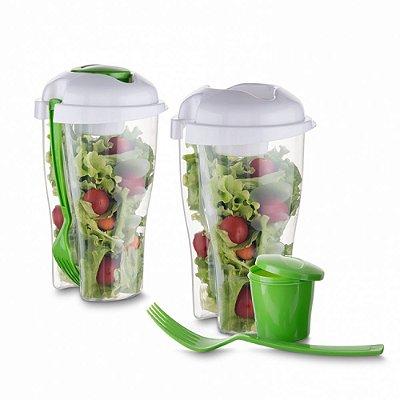 Copo Salada 850ml com Garfo e Suporte para Molho - IAD13719