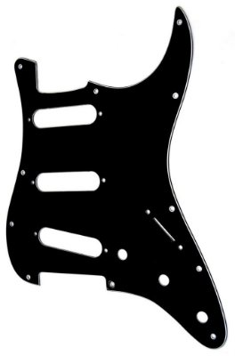 Escudo Fender SSS Preto para Strato 11 Furos