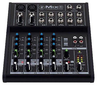 Mesa de Som Analógica Mackie Mix8 com 8 canais