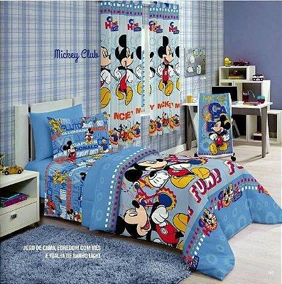 Jogo de Cama Duplo Solteiro Mickey Club Santista Linha Disney 3 peças