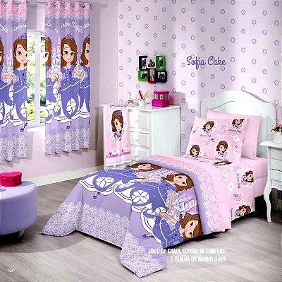 Jogo de Cama Duplo Solteiro Princesa Sofia Cake  Santista Linha Disney 3 peças