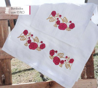 Jogo de Toalhas para Lavabo Bordado Flowers in Gold 2 Peças